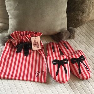 Victoria Secret satin striped bow slippers large💋